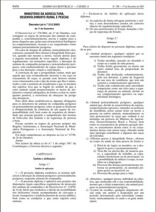DECRETO LEI 312-2003, DE 17 DE DEZEMBRO Ll10