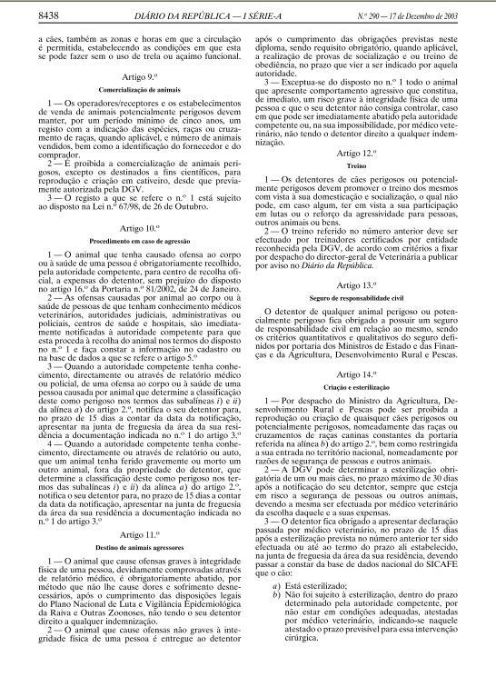 DECRETO LEI 312-2003, DE 17 DE DEZEMBRO Ll12