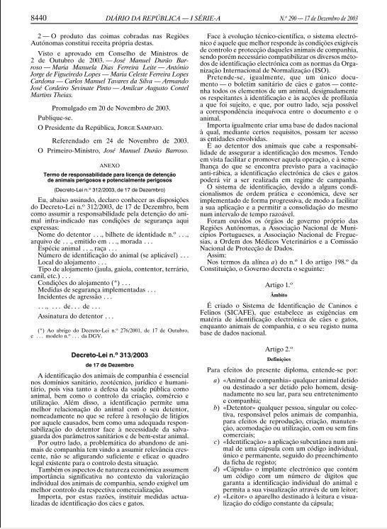 DECRETO LEI 312-2003, DE 17 DE DEZEMBRO Ll14