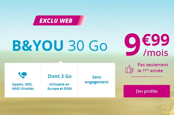 Série spéciale B&YOU 30Go à 9,99€/mois à vie Byouli10