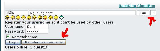 Đăng kí nick trong ShoutBOX Chatbo10