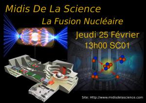 Jeudi 25 Février: Reprise des midis de la science: La Fusion Nucléaire Affich10