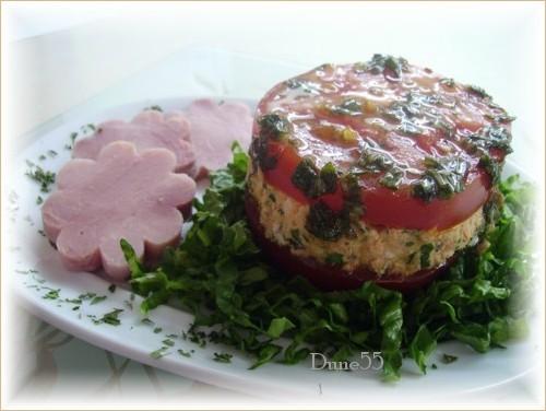 Une entrée/repas : Mille-feuilles de thon-tomates Pict0050