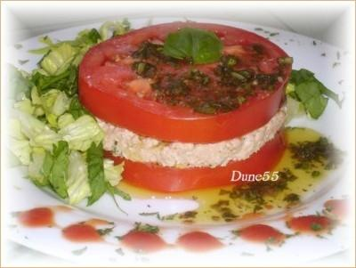 Une entrée/repas : Mille-feuilles de thon-tomates Tomate10