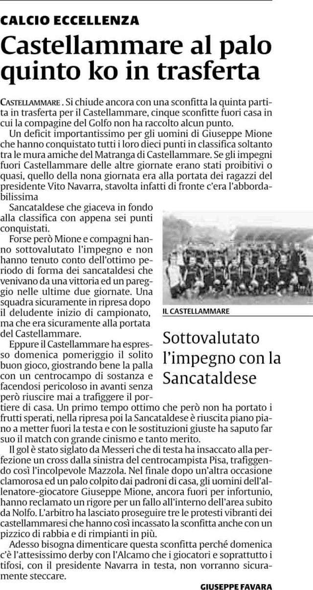 Campionato 9° giornata: Sancataldese - Castellammare 1-0 Cast10