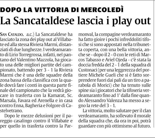 Campionato 22° giornata: Sancataldese - Riviera Marmi 3-1 Sancri13