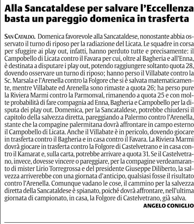 Campionato 29° giornata:Sporting Arenella - Sancataldese 1-1 Sc2210