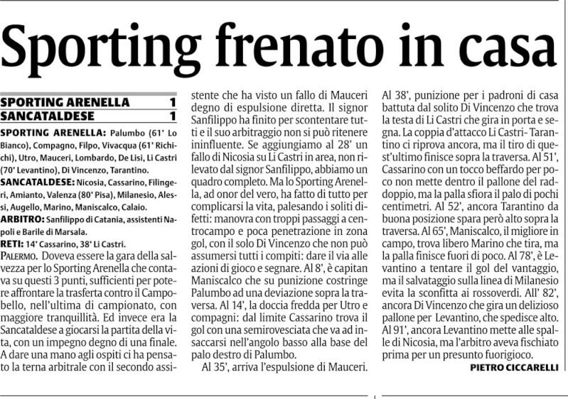 Campionato 29° giornata:Sporting Arenella - Sancataldese 1-1 Sporti10