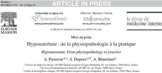Mise au point Hyponatrémie : de la physiopathologie à la pratique ! Presen10