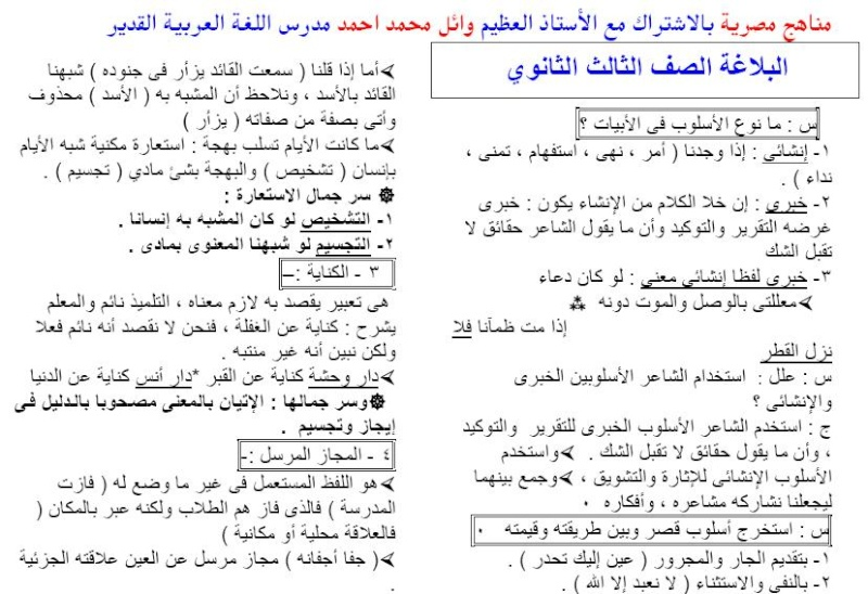 شرح البلاغة فى ورقتين للصف الثالث الثانوى - الاستاذ وائل محمد احمد 120