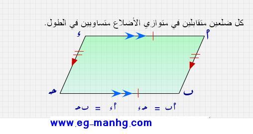 حصريا درس متوازي الأضلاع وخواصه بالصور التوضيحية للصف الاول الاعدادى الترم الثانى 512