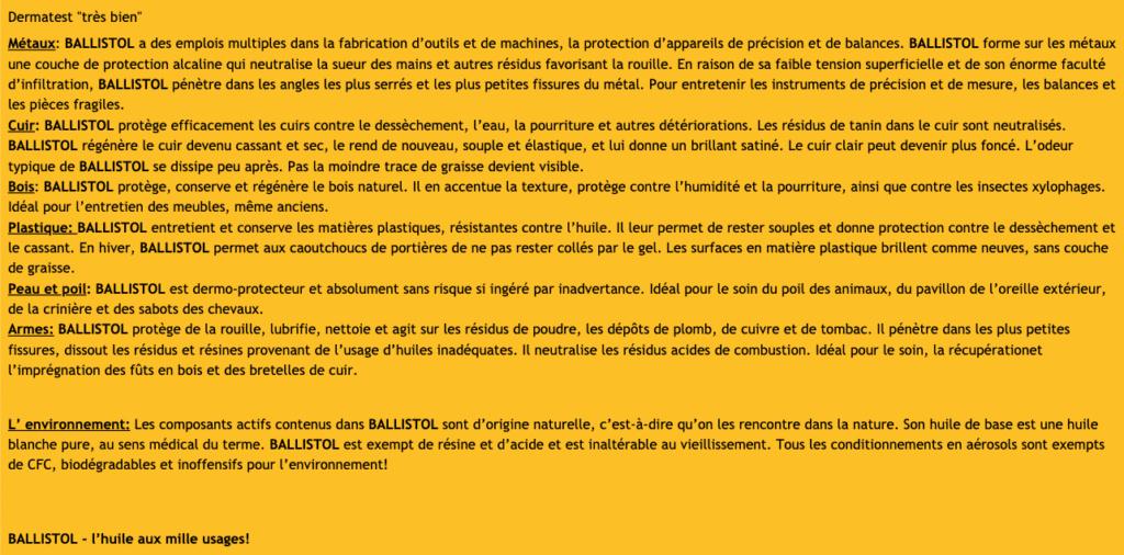 Utilisation BALLISTOL huile universelle Ballis12