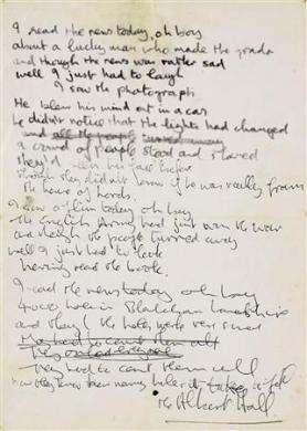 Le manuscrit d'une chanson des Beatles vendu aux enchères 310