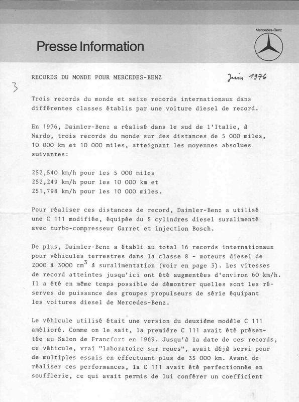 [Historique] Mercedes C 111 (1969-1979) 110