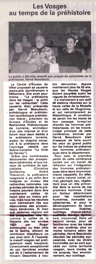 """Conférence """"Les Vosges au temps de la préhistoire - un point sur la question"""" Conf_v10"""