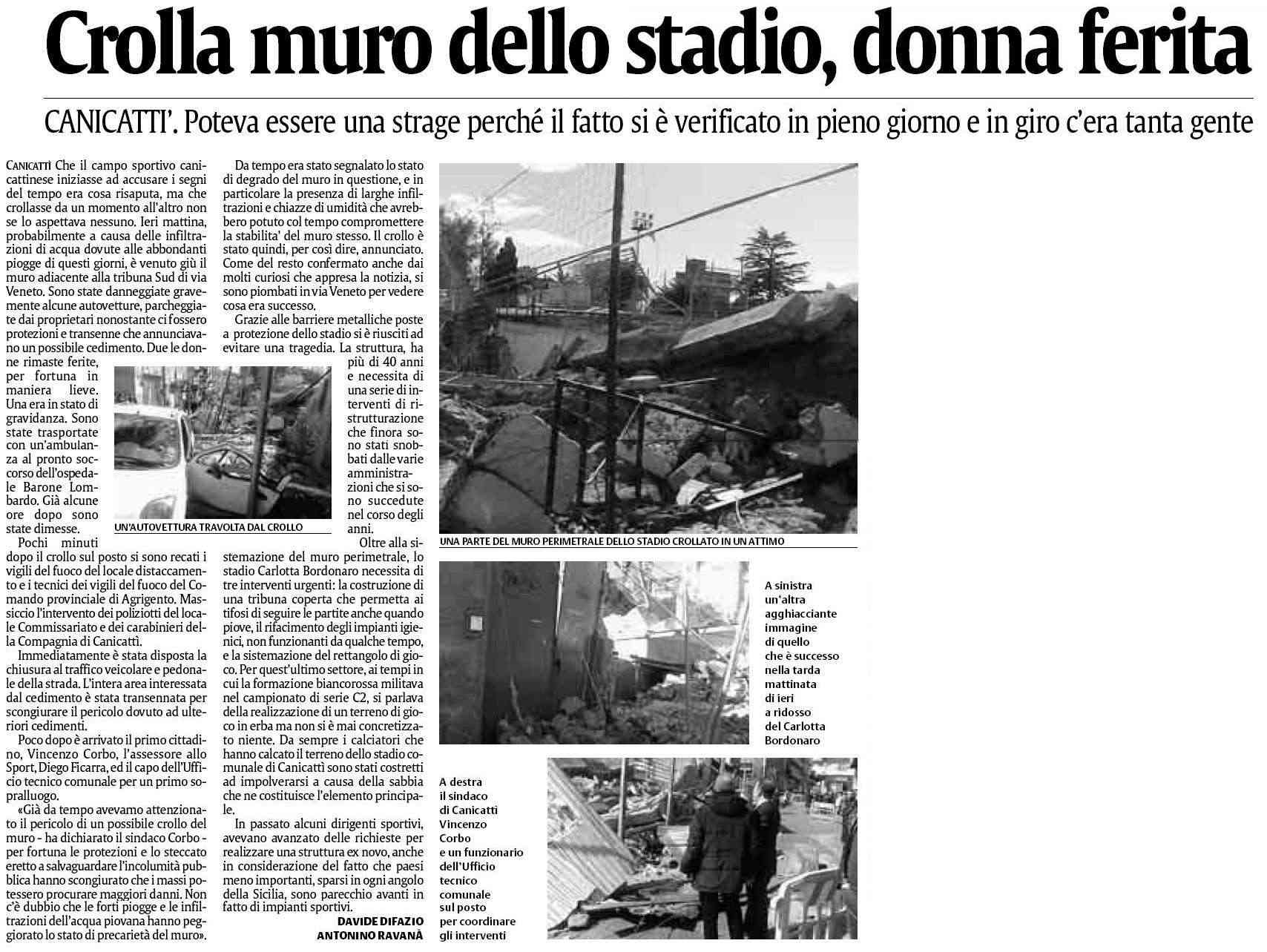 Crolla Muro Dello Stadio Bordonaro Di Canicattì!!! Cattur20