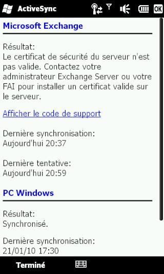 [HD2] - WM 6.5 : Problème de synchro avec Excahnge 2007... Screen20