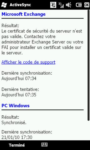 [HD2] - WM 6.5 : Problème de synchro avec Excahnge 2007... Screen28