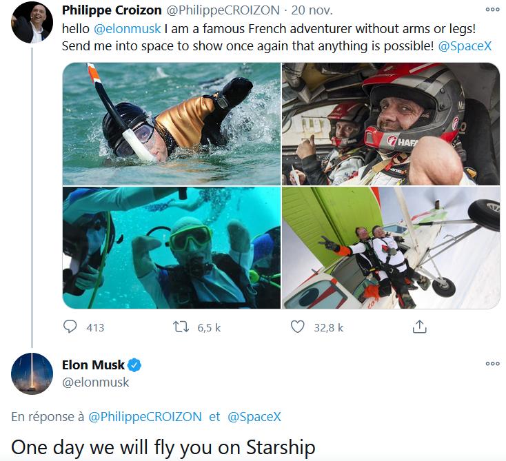 """Phillippe Croizon, aventurier et futur """"invité"""" sur le starship. Croizo10"""