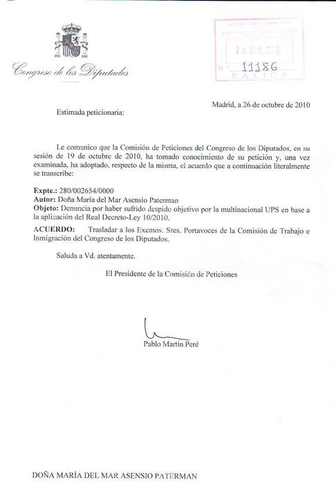 Respuesta del Congreso de los Diputados a la denuncia que les presentamos ante los 18 despidos objetivos aplicados por la multinacional norteamericana UPS 75788_10