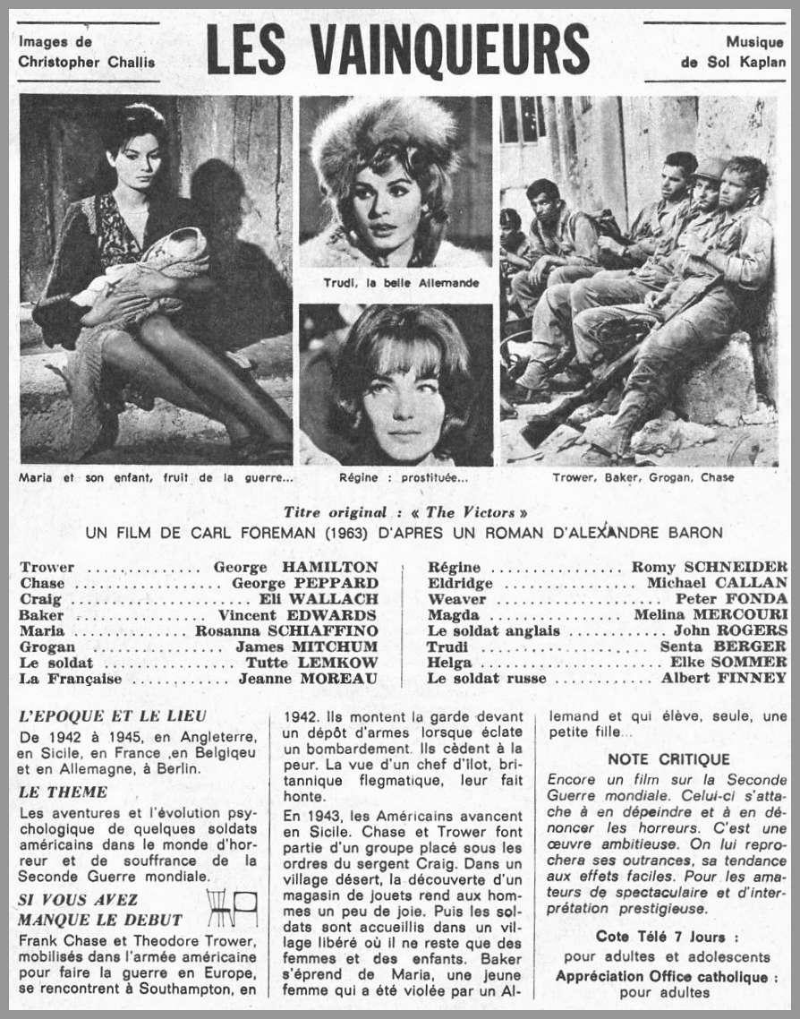 Les Vainqueurs. The Victors. 1963. Carl Foreman. Fiche11