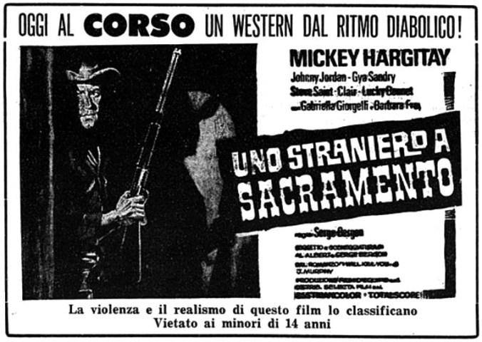 Je te tuerai ! [ Uno straniero a Sacramento ] 1965 . Sergio Bergonzelli . Uno-st10