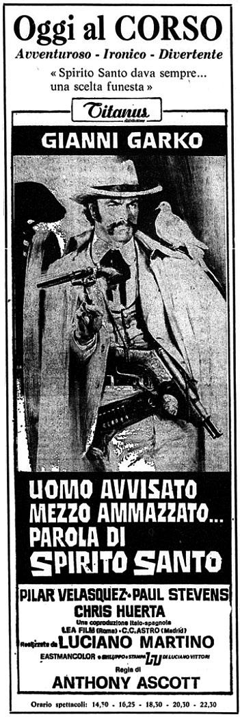 On l'appelle Spirito Santo - Uomo avvisato mezzo ammazzato... Parola di Spirito Santo - 1971 - Giuliano Carnimeo Uomo-a10