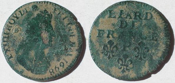Louis XIV Liard, 3e type, buste âgé - 1698 P Lvd_xi11