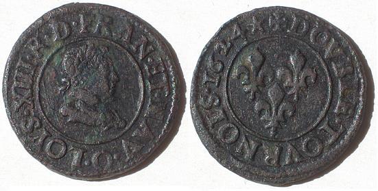 Double tournois de Louis XIII, 1624 O Sans_t10