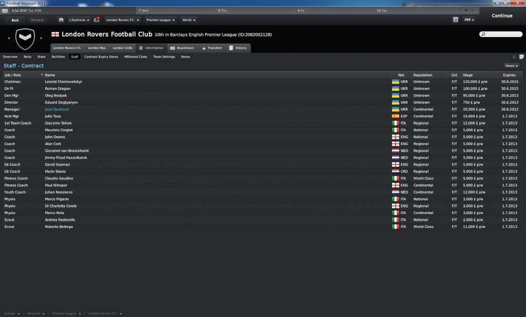 Football Manager 2011: van helsing's newest legacy Staff10