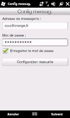 Configurer Outlook HD2 pour recevoir Mails MSN Screen11