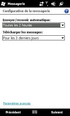 Configurer Outlook HD2 pour recevoir Mails MSN Screen15