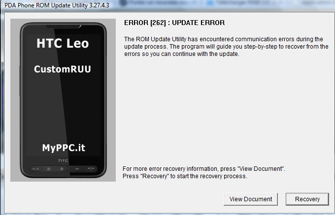 Impossible de flasher ROM Orange/Update Error-Communication impossible Htcfla10