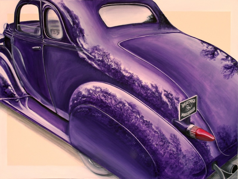 Mates Chev coupe iv'e just finished. 1m x 1.2m Acrylic on canvas. Change16