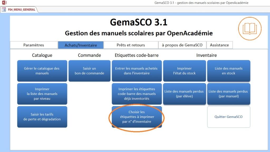 GemaSCO (GEstion MAnuels SCOlaires) version 3.2.5 d'août 2021 - Page 6 Gema111