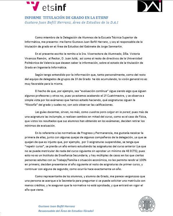 INFORME AREA DE ESTUDIOS DE GRADO. Dai12