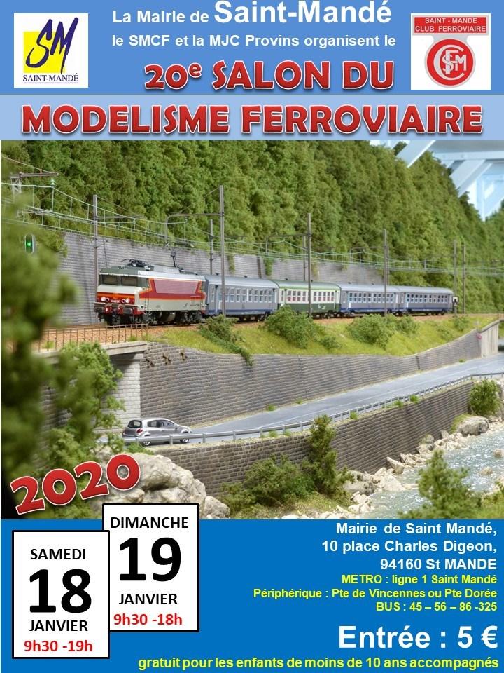 Salon du modélisme ferroviaire de Saint Mandé, les 18 et 19 janvier 2020 Affich11