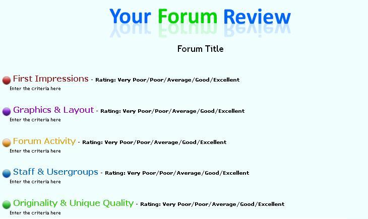 Un forum pour donner notre opinion sur les forums des autres membres Forumr10