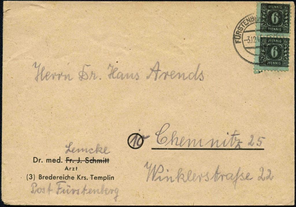OPD Schwerin - 1. Freimarkenausgabe - Feldmerkmale der Wertstufe zu 6 Pfennig 1945-110