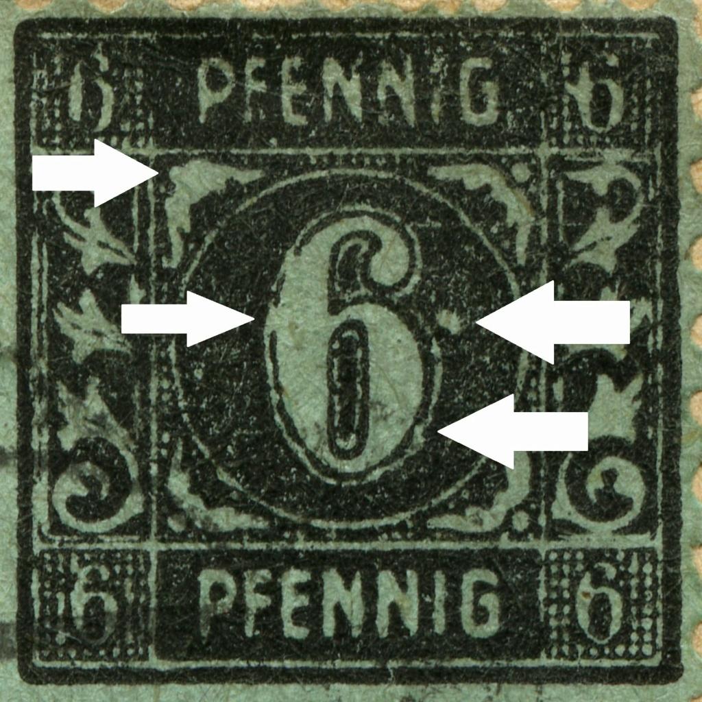 OPD Schwerin - 1. Freimarkenausgabe - Feldmerkmale der Wertstufe zu 6 Pfennig 1945-111