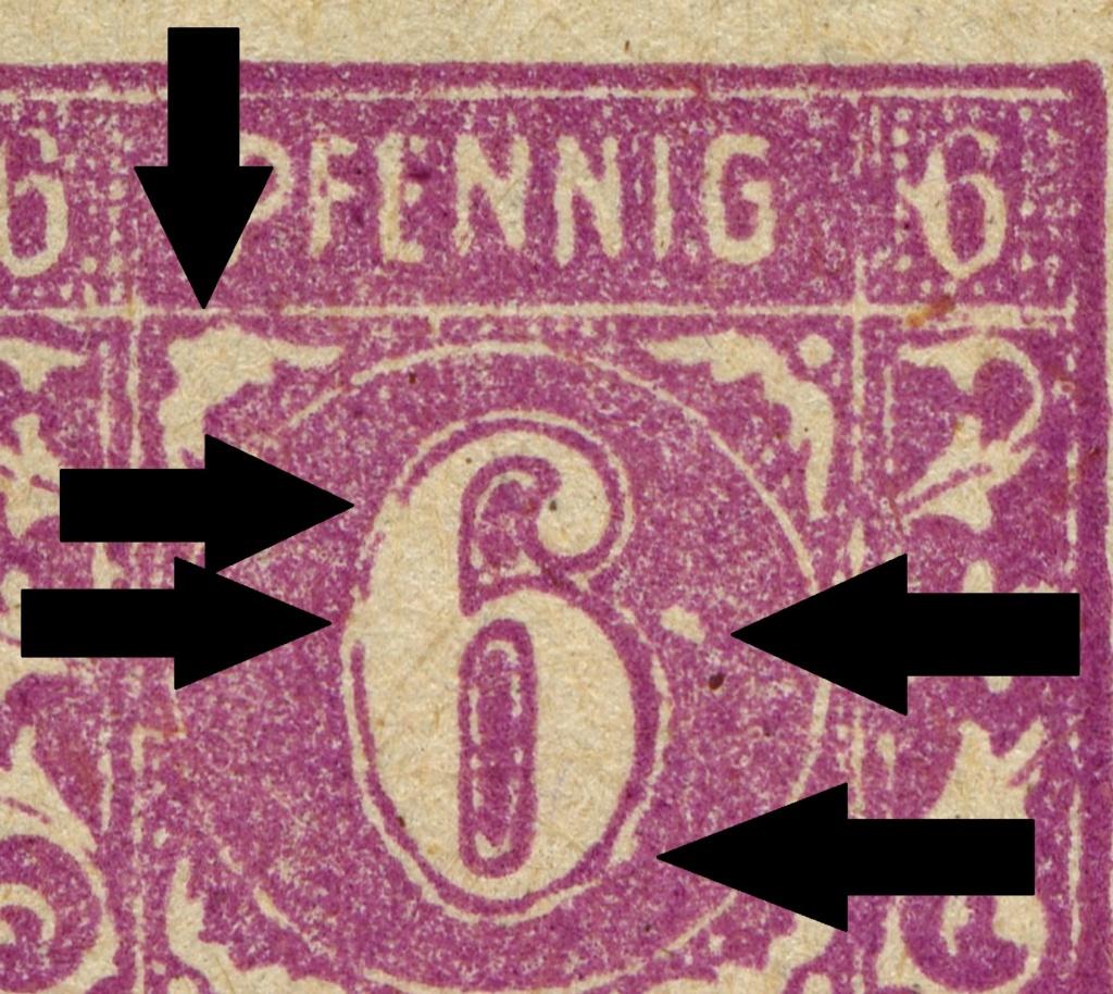 OPD Schwerin - 1. Freimarkenausgabe - Feldmerkmale der Wertstufe zu 6 Pfennig Mi_nr_13