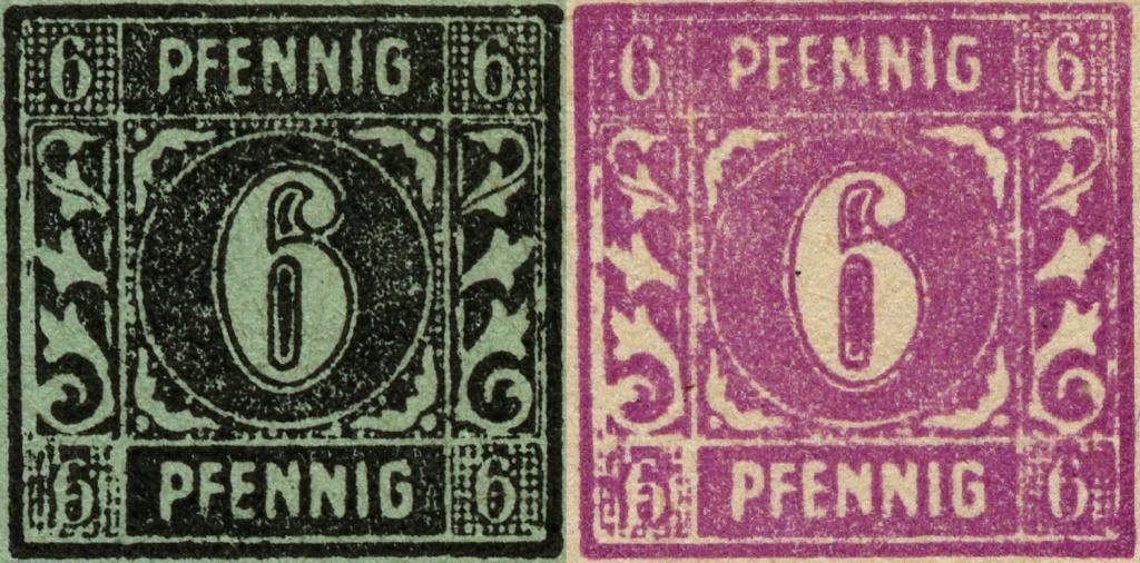 OPD Schwerin - 1. Freimarkenausgabe - Feldmerkmale der Wertstufe zu 6 Pfennig Mi_nr_19