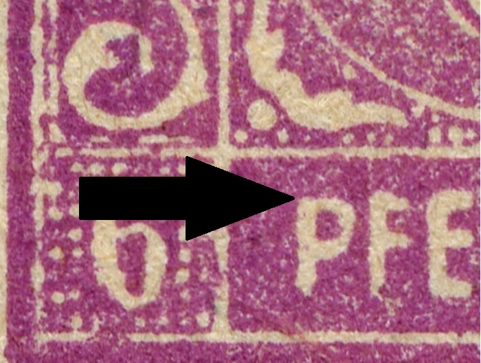 OPD Schwerin - 1. Freimarkenausgabe - Feldmerkmale der Wertstufe zu 6 Pfennig Mi_nr_27