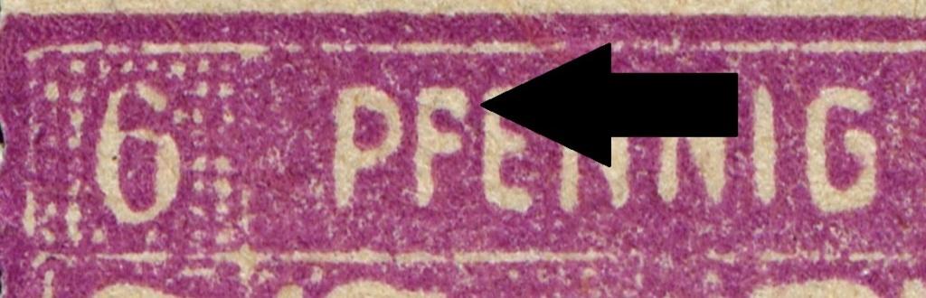 OPD Schwerin - 1. Freimarkenausgabe - Feldmerkmale der Wertstufe zu 6 Pfennig Mi_nr_35