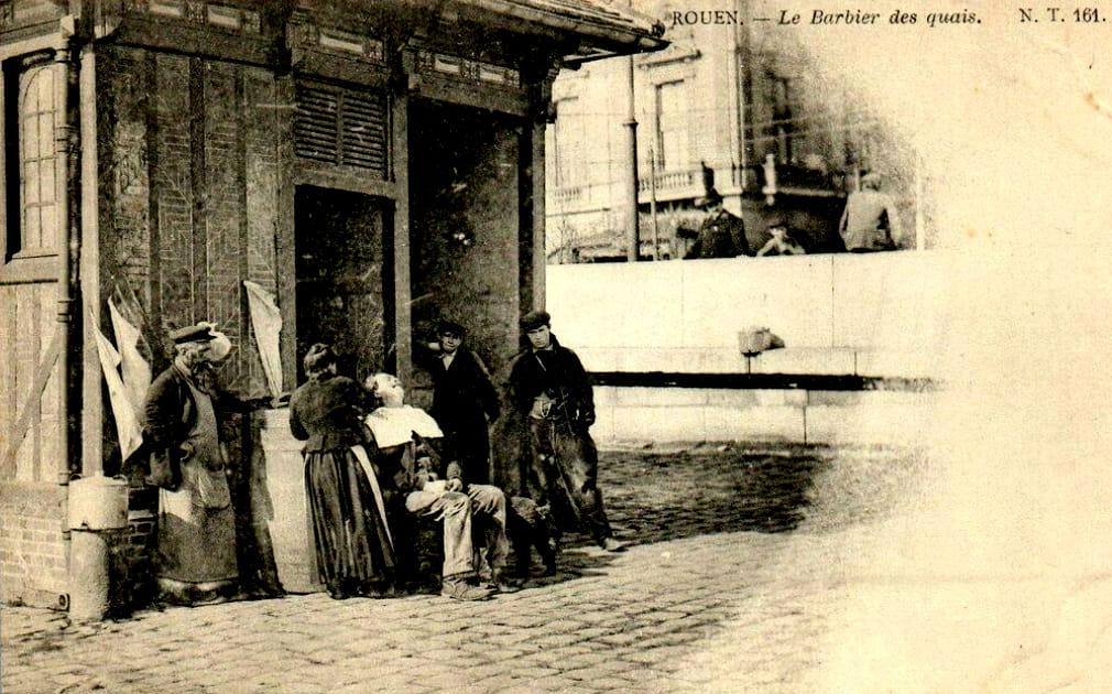 Barbier de rue à  Rouen avant 1900 Barber10