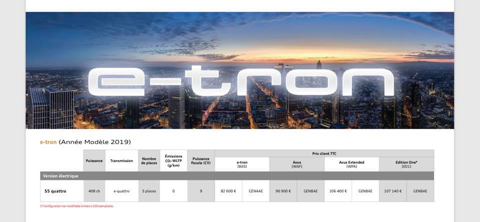 Tarif E-tron made in Germany ! Etron110