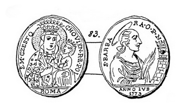 Jubileo de 1775 - Virgen de Czestochowa / Santa Bárbara - MR765 Czesto10