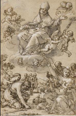 san Carlos Borromeo (Marca AH) / santo Tomas de Villanueva, s. XVII Giacin10