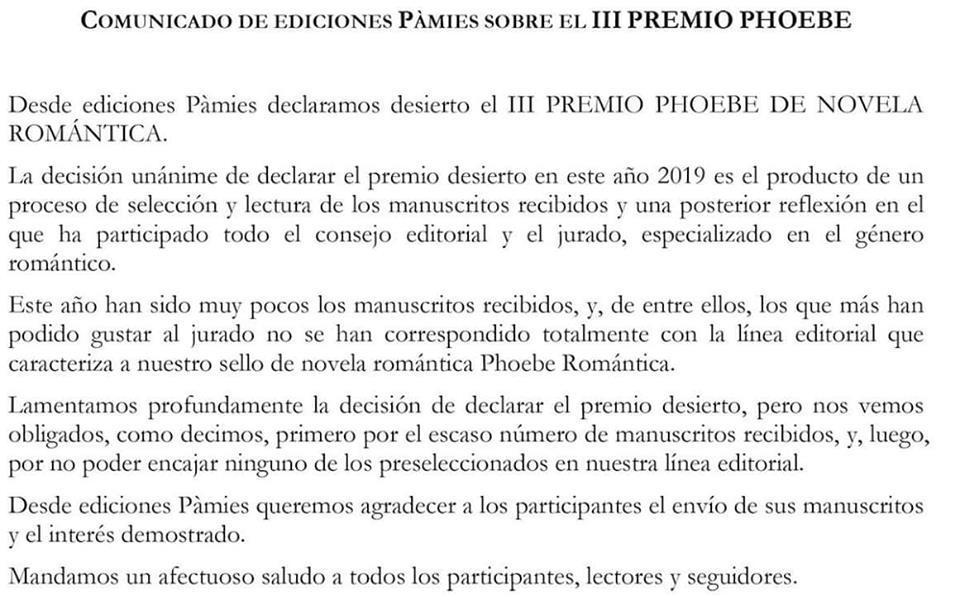 I Premio Phoebe de Novela Romántica 60862910