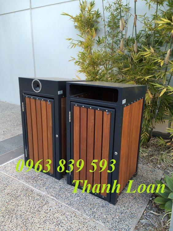 Bán thùng rác giả gỗ - thùng rác ngoài trời sử dụng khu du lịch, resort mới giá sỉ Thung-22